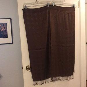 Brown on brown geometric pashmina scarf